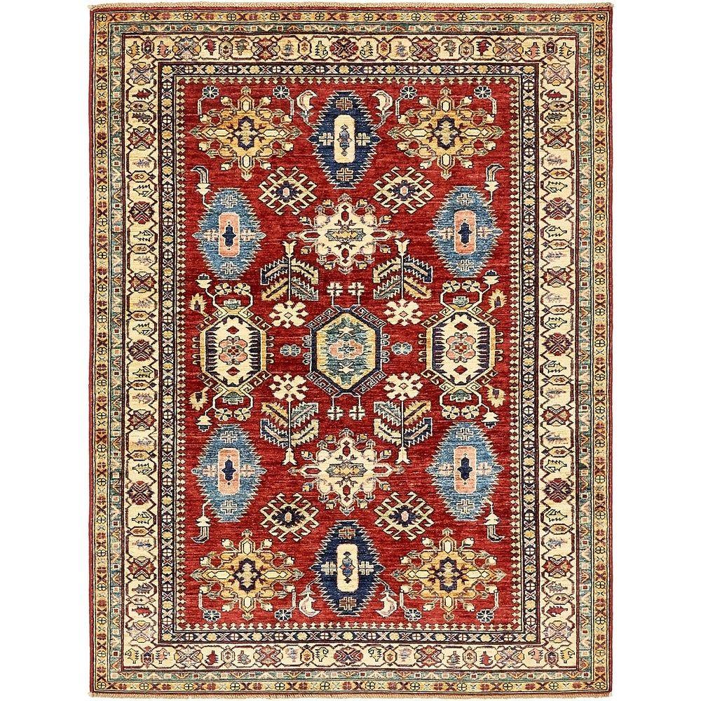 Refurbished Hand Knotted Kazak Wool Area Rug 5 X 6 7 Red 5