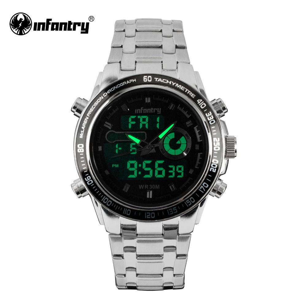 INFANTRY Mens Watches Top Luxury Full Steel Quartz Watch LED Analog Digital  Sports Watches Date Army Military Relogio Masculino   Price   47.99   FREE  ... 23535c018a