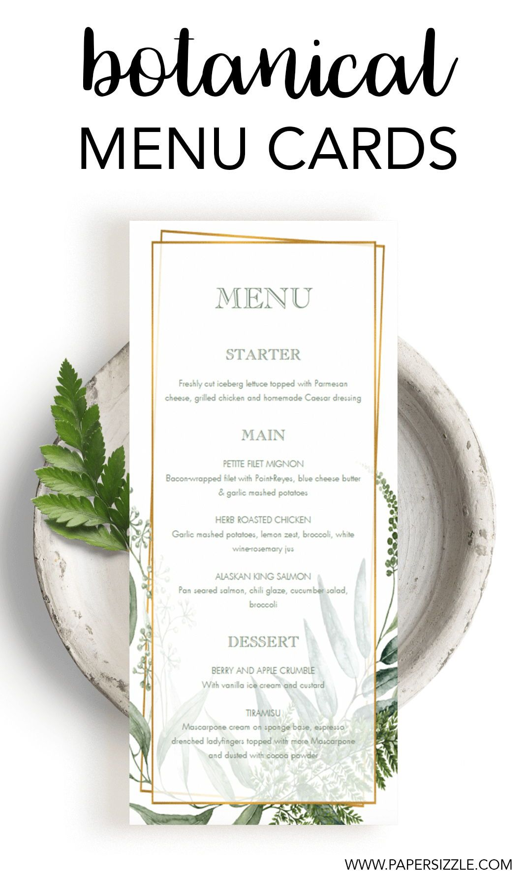 Vintage Botanical Menu Card For Wedding Reception Menu Cards Wedding Menu Wedding Menu Cards