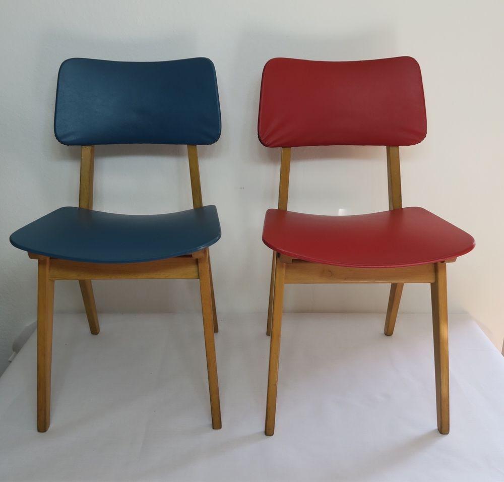 Details zu Paar originaler 50er Jahre Esstisch-Stühle Holzstühle ...