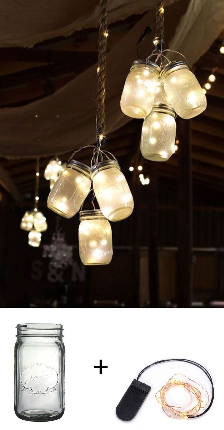 Hanging lights wedding decor  Easy and adorable wedding lighting with mason jars afloral  My