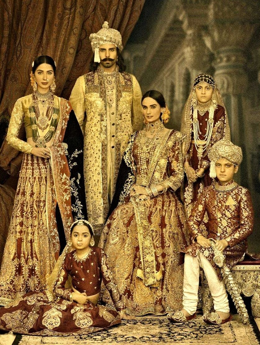 Models Showcasing Portrait Of The Royal Mughal Family
