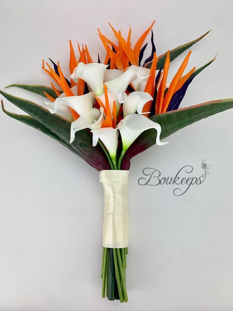 Elegir Color Ribbon Pajaros Del Paraiso Y Blanco Calla Lily Etsy In 2020 Calla Lily Bridal Bouquet Lily Bridal Bouquet Calla Lily Bridal