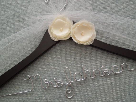 Chiffon Ivory Flowers Hanger, Personalized Wedding Hanger, Wedding Dress Hanger, Bridal Hanger, Custom Wedding Hanger