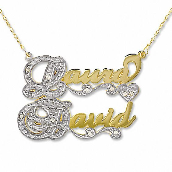 d41212b7b1 Script Couple's Name Necklace in 10K Two-Tone Gold with Diamond Accents (2  Names)