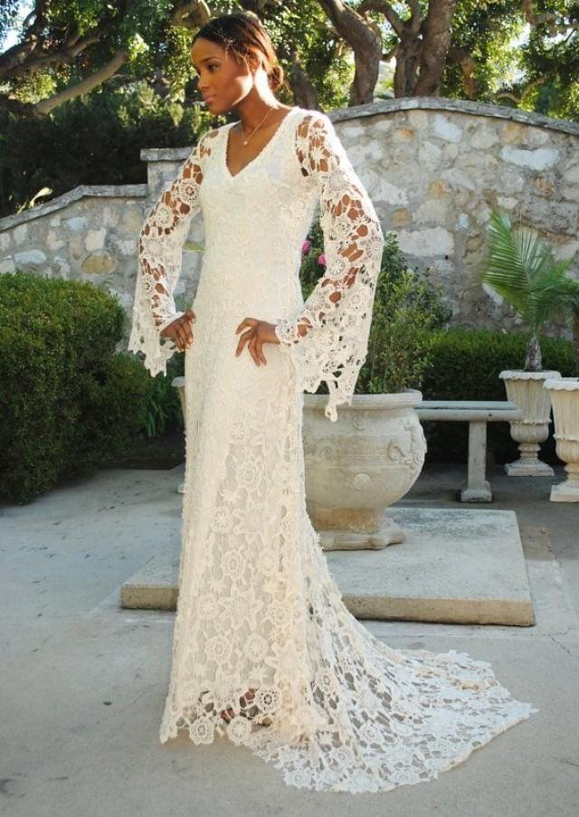 BOHO WEDDING DRESS. Bell Sleeve Simple Crochet Lace Bohemian Wedding ...