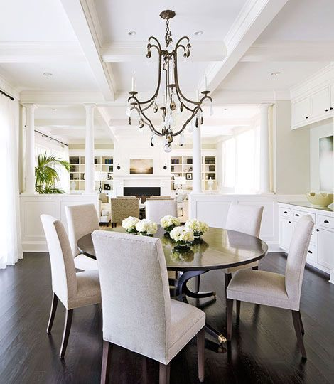 Casual Dining Rooms Open Floor Plan Dark Floors Round Table Chandelier Built In Buffet