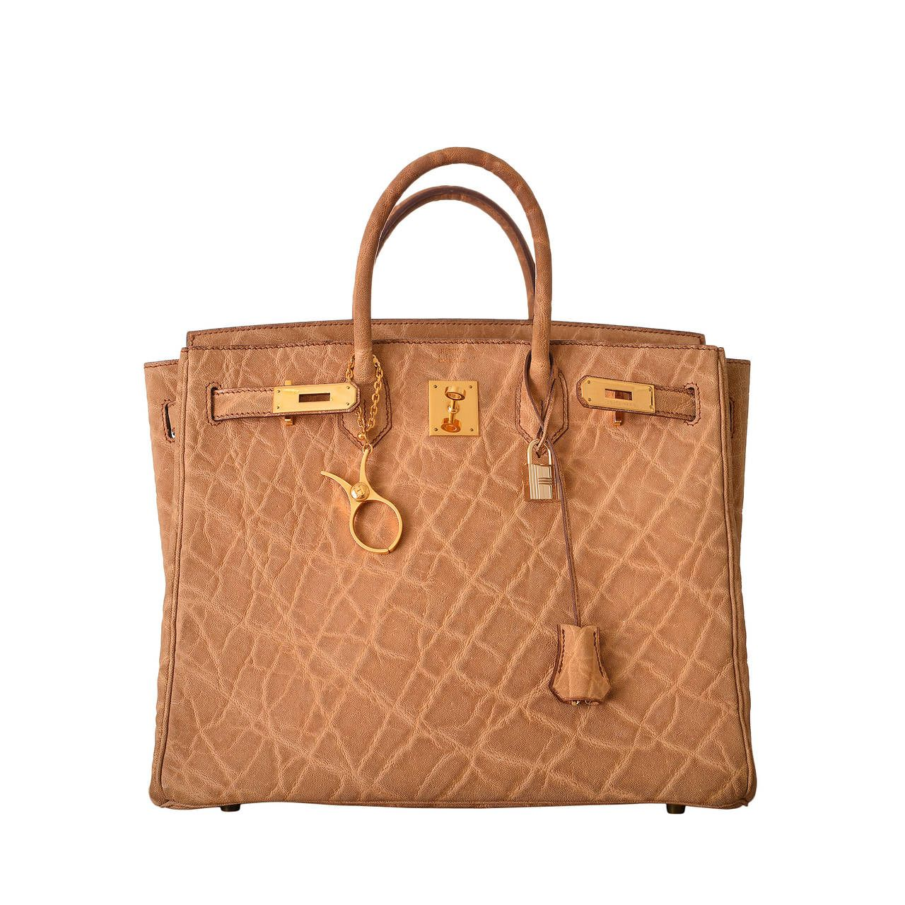 7776f437bfc6 HERMES BIRKIN BAG HAC 32CM ELEPHANT SKIN WITH GOLD HARDWARE SUPER RARE  JaneFinds