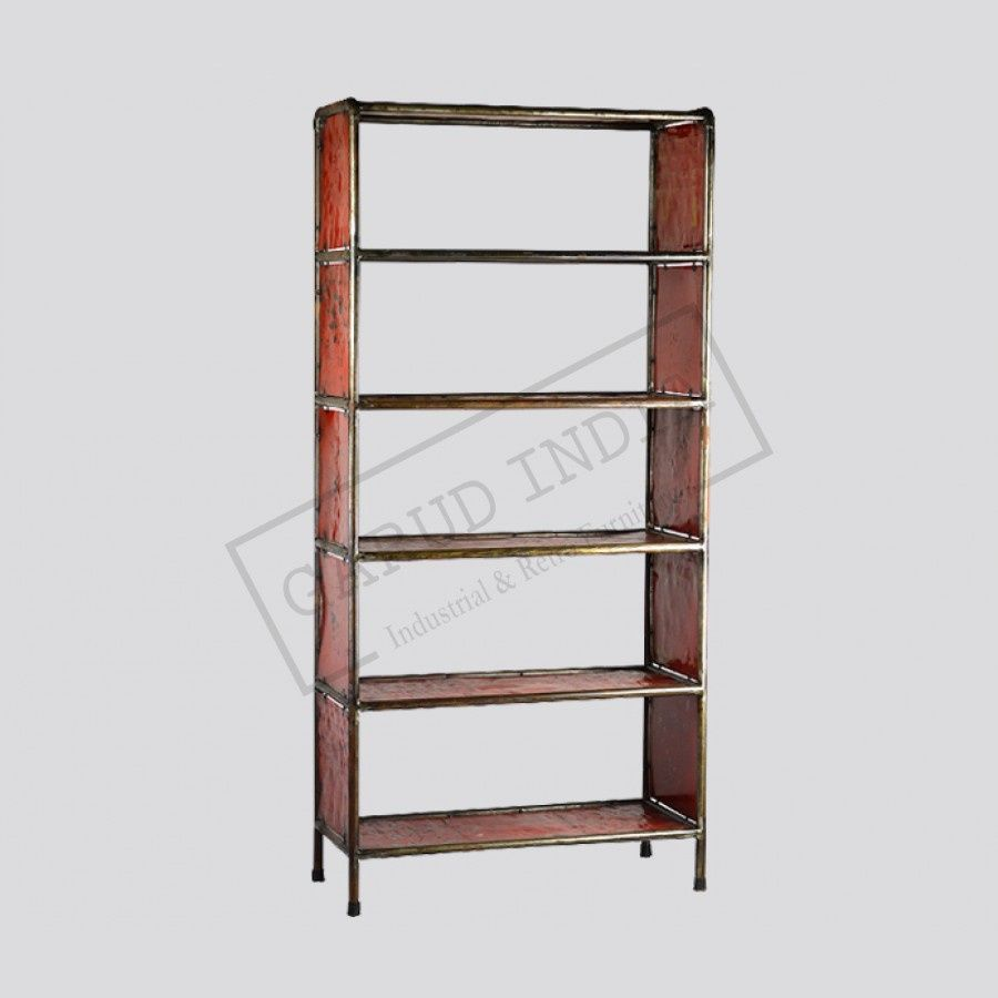 Swell Red Metal Bookcase Country Home Office Furniture Check Interior Design Ideas Clesiryabchikinfo