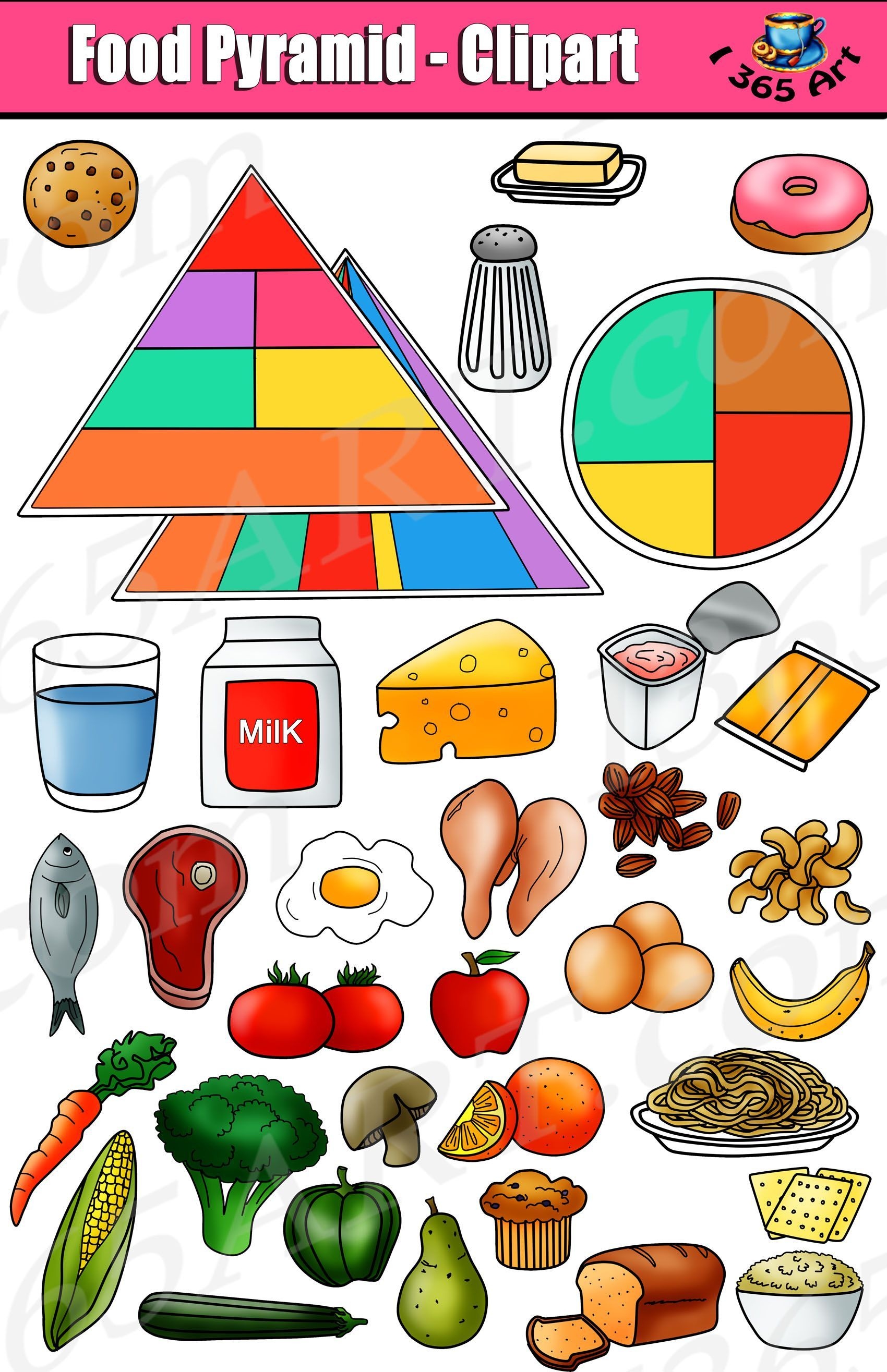 Healthy Kids Food Pyramid Clipart Graphics Set