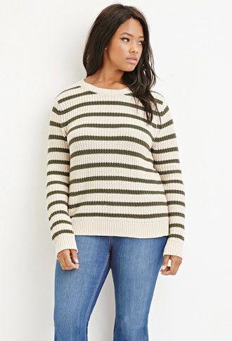 54c33b7dc4b Plus Size Stripe Chunky Knit Sweater