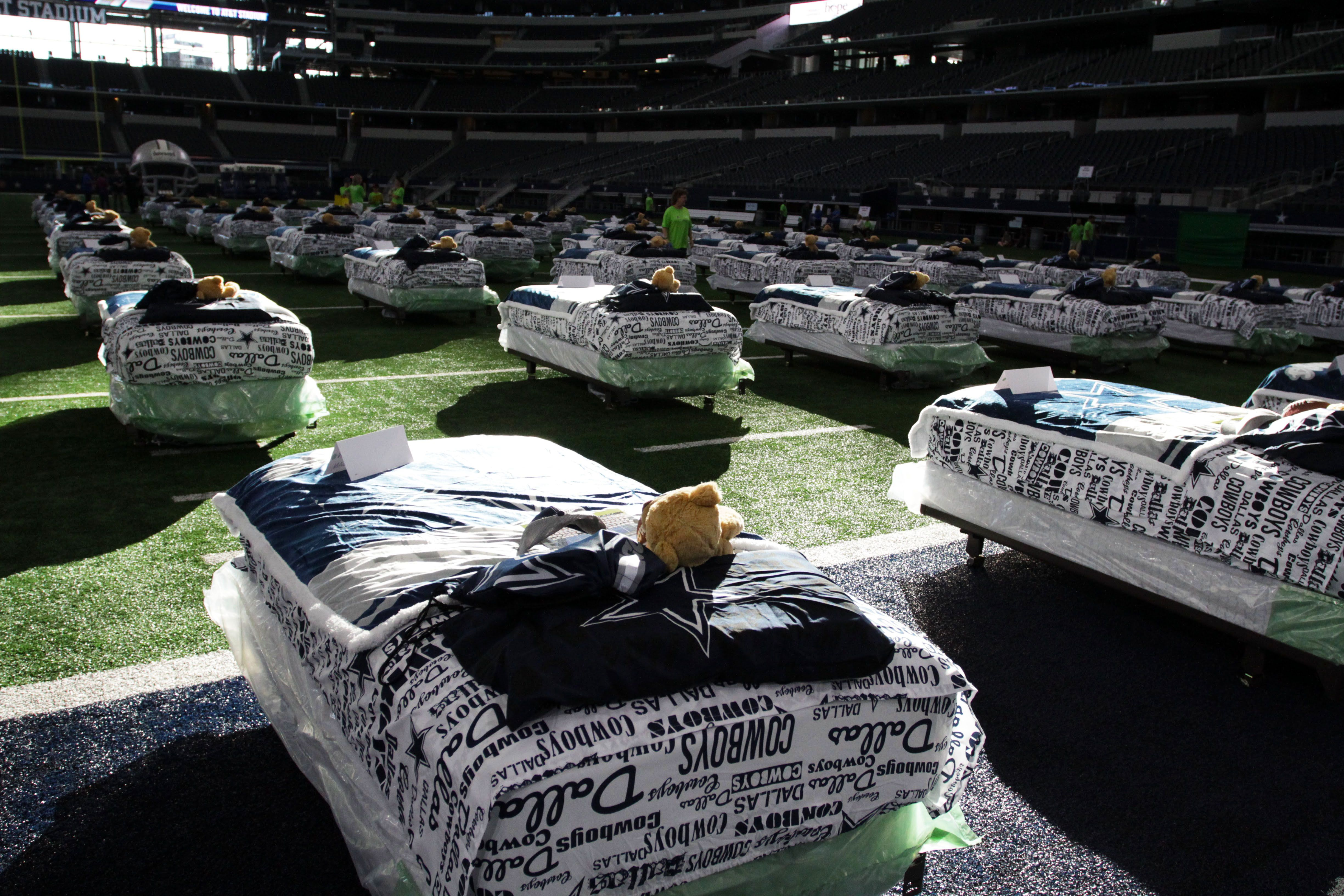 f3496ce591a A slumber party of stadium-sized proportions took place this past weekend  at AT&T Stadium, thanks to the Dallas Cowboys and partner Ashley HomeStore.