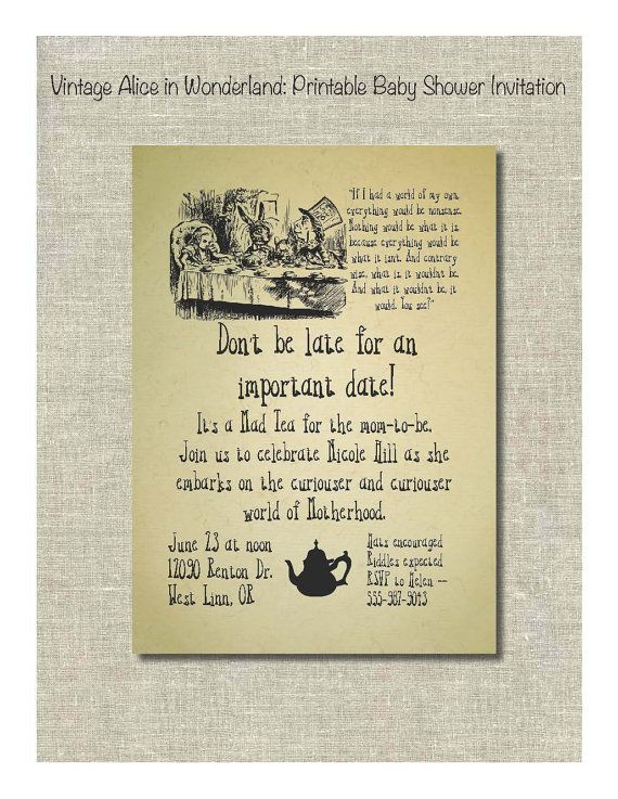 Alice in Wonderland Baby Shower Invite My designs Pinterest - bridal shower invitation samples