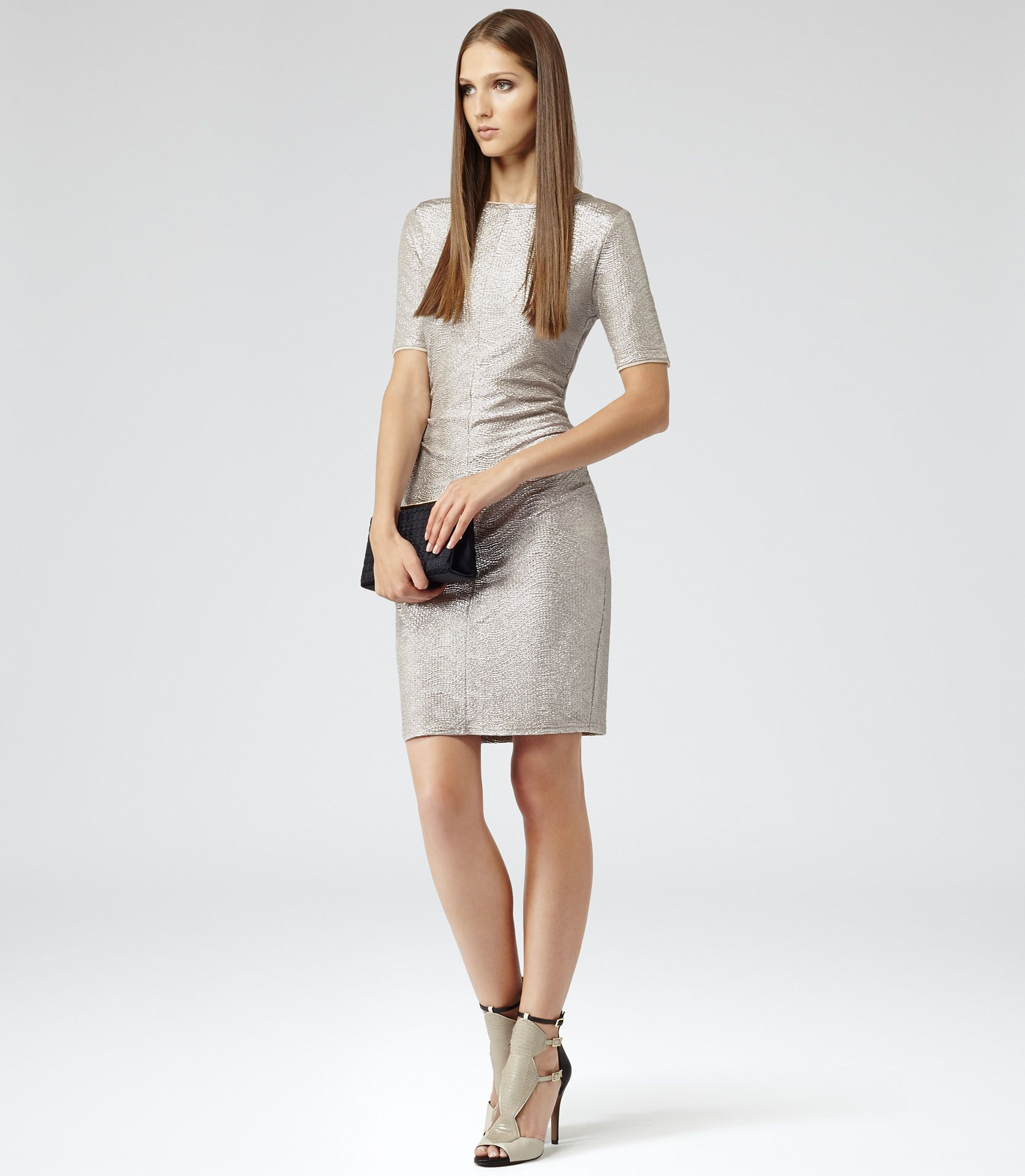 Abellia Metallic Short Sleeve Ruched Shift Dress - REISS