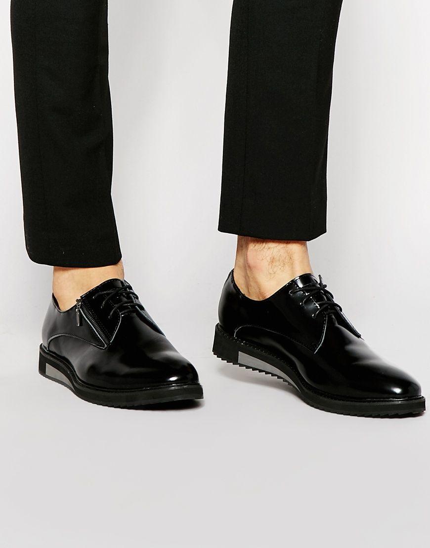 Religion Leather Derby Shoes - Black - Fashion Shop