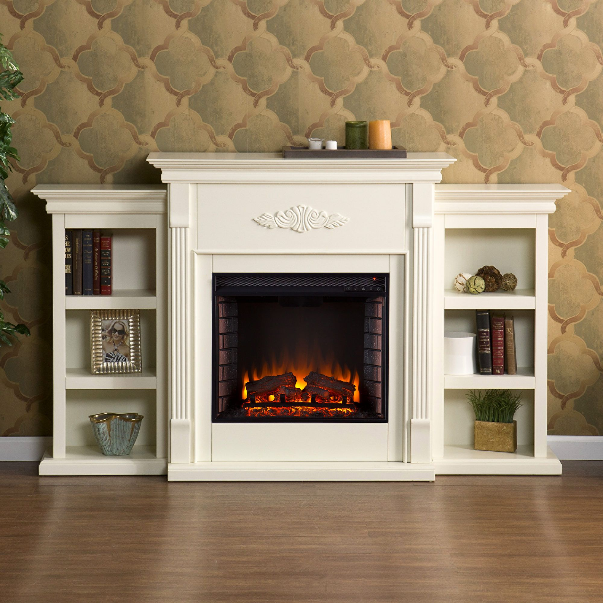 Sei Newport Electric Fireplace With Bookcases Ivory Fireplace