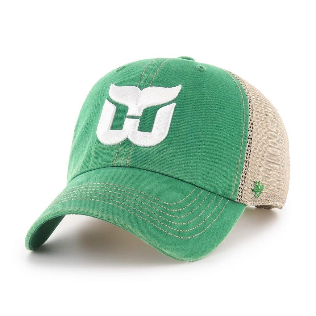 Hartford Whalers 47 Brand Trawler Vintage Green Clean Up Adjustable Hat Hartford Whalers Mens Trucker Hat Stylish Hats