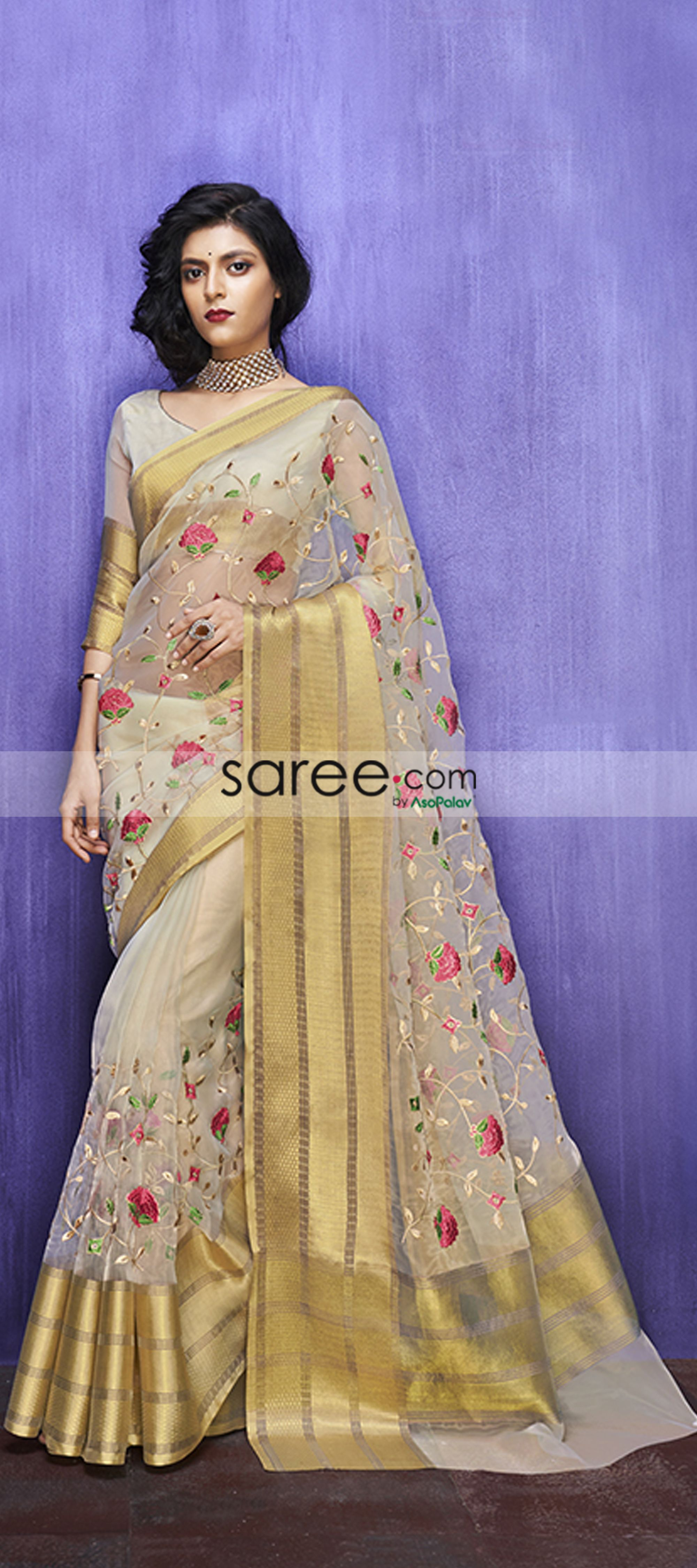 2f6d74decf Cream Organza Silk Floral Embroidered Saree | Happy price designer ...