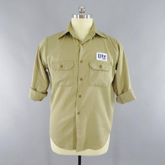 a542a09b 1970s Vintage Miller Lite Beer Patch Long Sleeve Work Shirt Khaki Tan Size  M 42