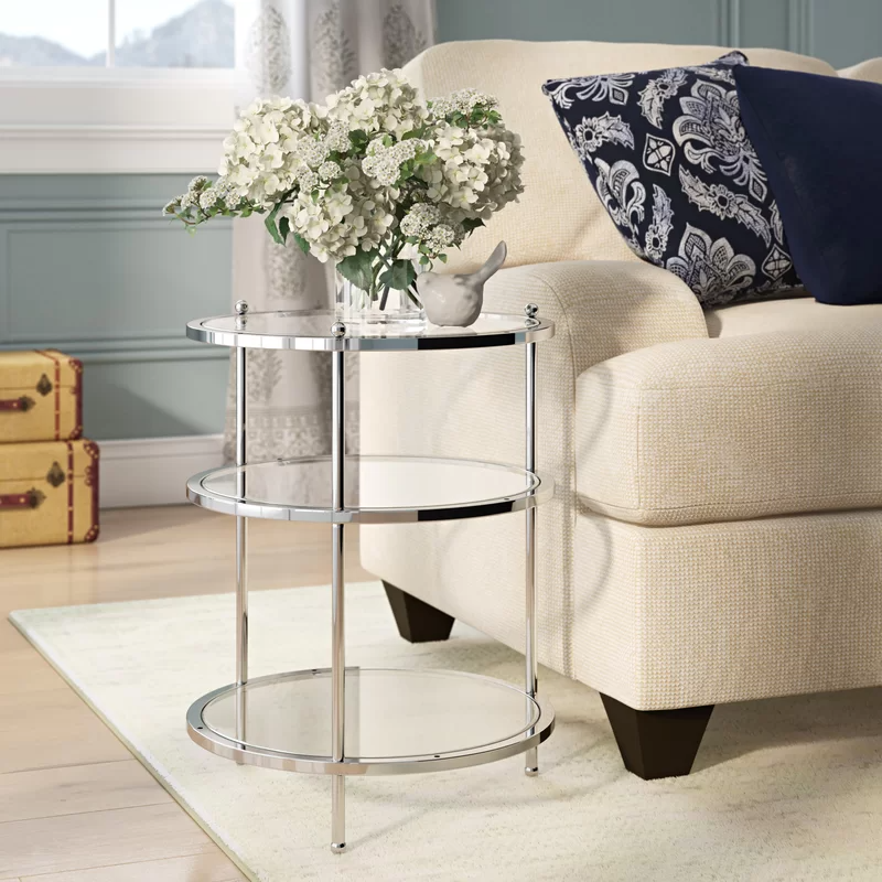 Cathleen Glass Top 3 Legs End Table With Storage Glass Top End Tables End Tables With Storage Contemporary Living Room Furniture