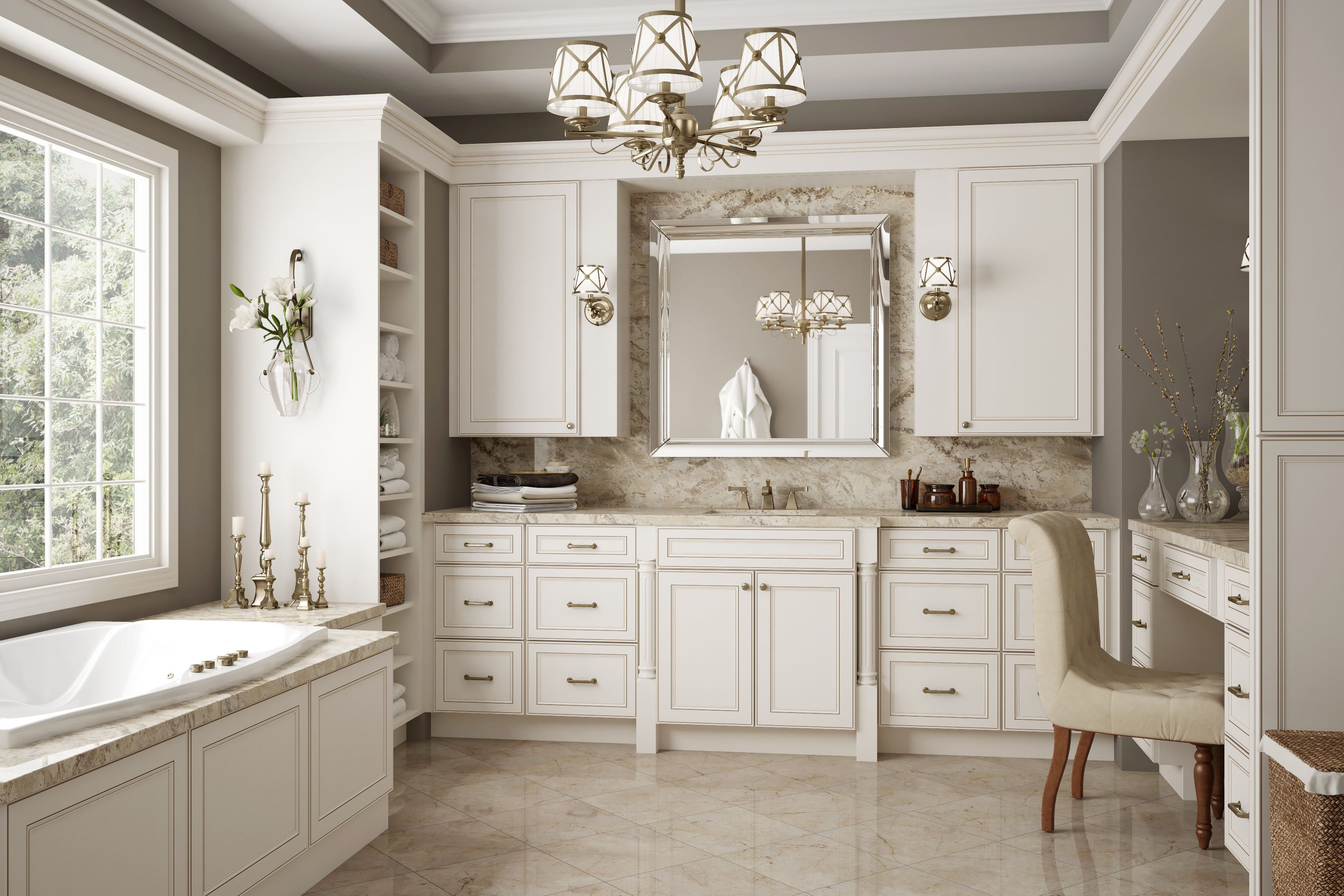 Get Inspired Update Your Bathroom For The Spring Season At A Fraction Of The Big Antique White Kitchen Antique White Kitchen Cabinets Bathroom Remodel Master