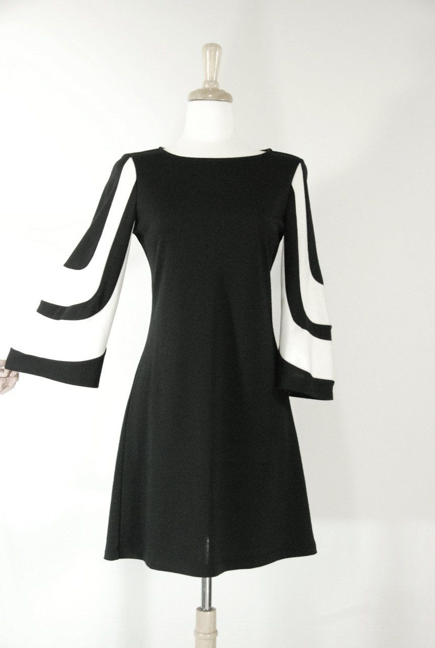 8d742e3cc1a SOLD     1960 s Vintage Mod Black and White Dress - SoHo Street Chic ...