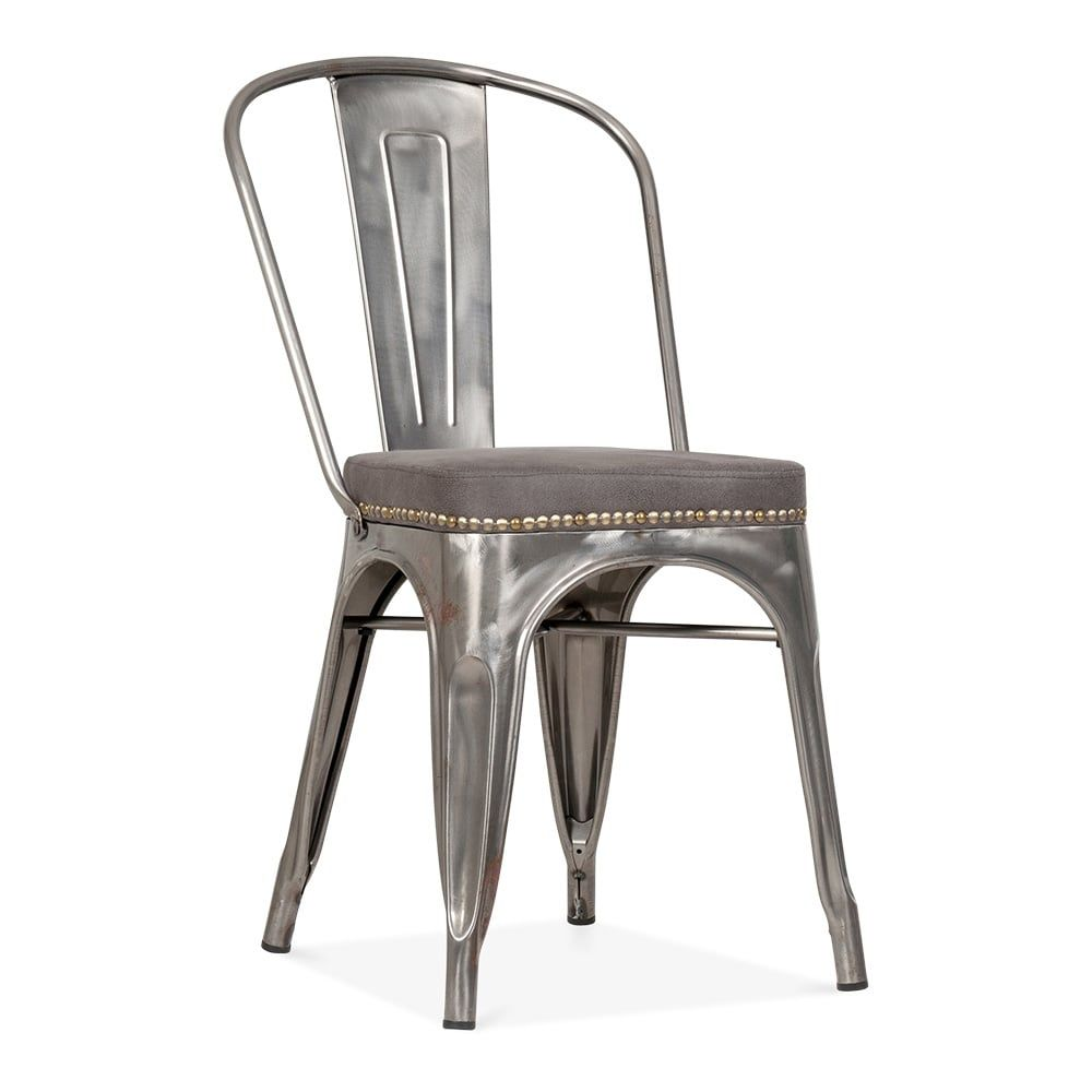 Tolix Style Metal Side Chair with Brown Cushion, Gunmetal in 9