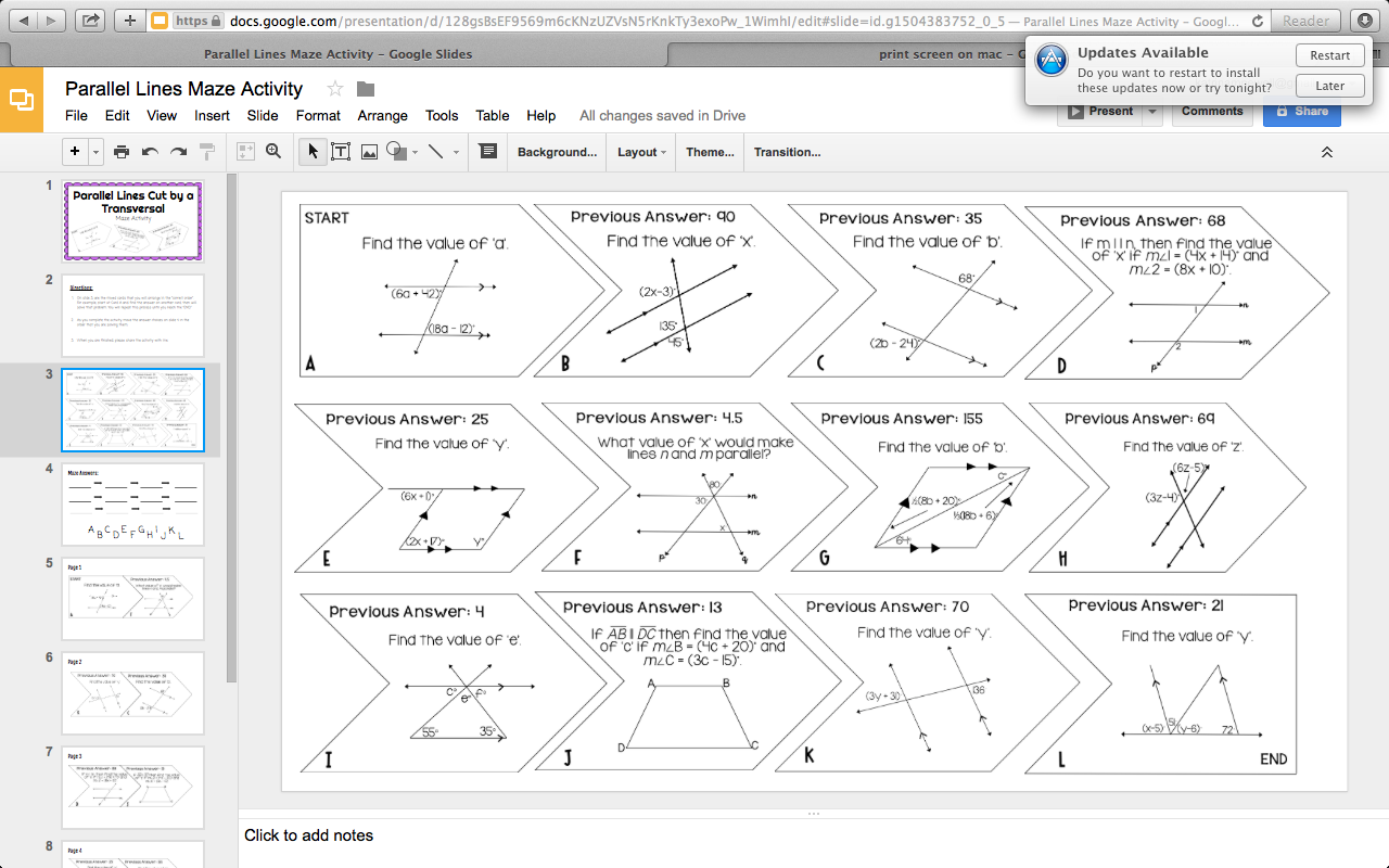 Mrs Newell S Math Free Parallel Lines Cut By A Transversal Digital Activity