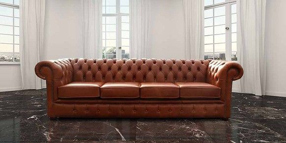 Chesterfield 4 Seater Settee Sofa Old English Saddle Leather ...