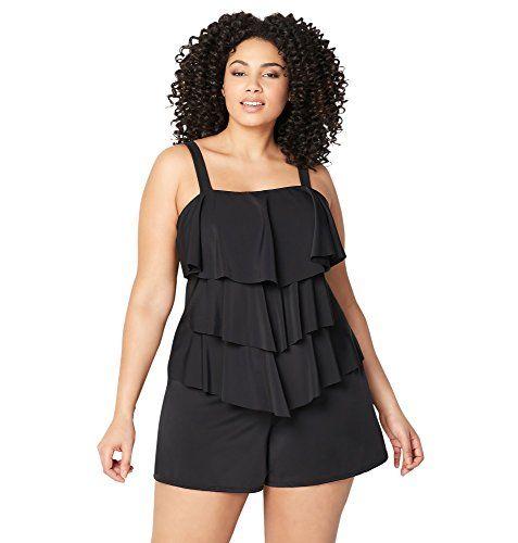 17df2edb223e9 Avenue Women s Plus Size Black Tiered Swim Romper with Tummy Control ...