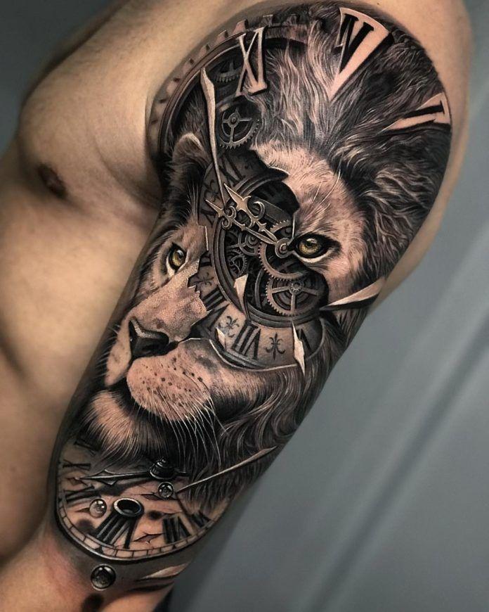 Composition Tatouage Tete De Lion Horloge Sur Le Bras Tatouage Tete De Lion Tatouage Horloge Tatouage Lion
