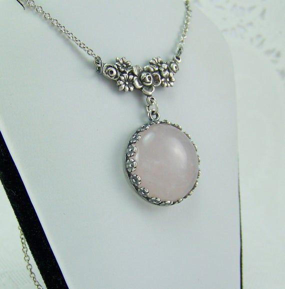 Rose Quartz Necklace, Love Necklace, Pink Stone Necklace, Quartz Necklace, Natural Quartz Necklace, Pink Quartz, Round Quartz Cabochon