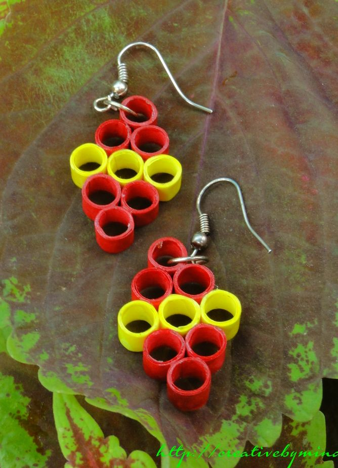 Handmade Paper Quilled Earring Protective Varnish Coating Is Lied To Make The Product Water Resistant And Durable By Creativebymind