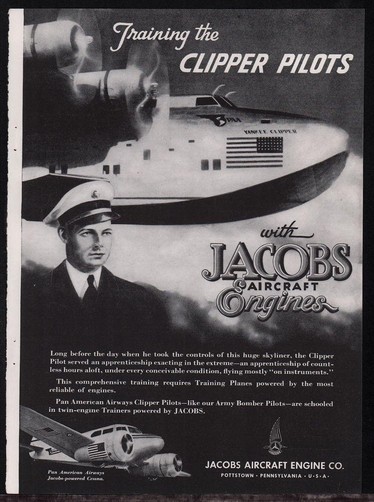 1943 WW II PAN AM Pan American Clipper & Pilot WWII Jacobs