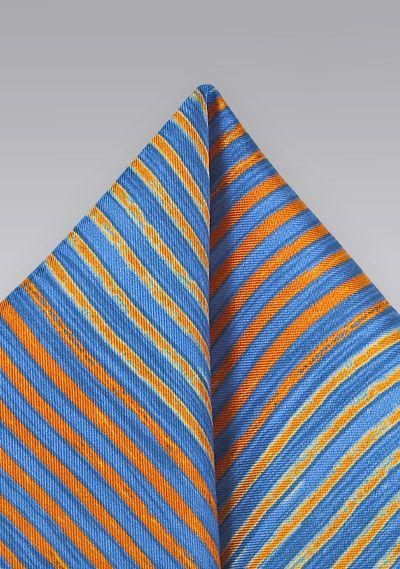 Einstecktuch verwaschene Streifen königsblau