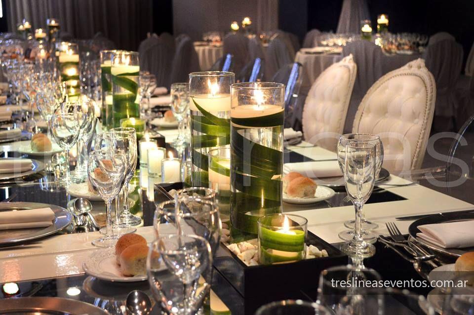 Ambientación Mesa principal Linea de velas Moderno + Elegante