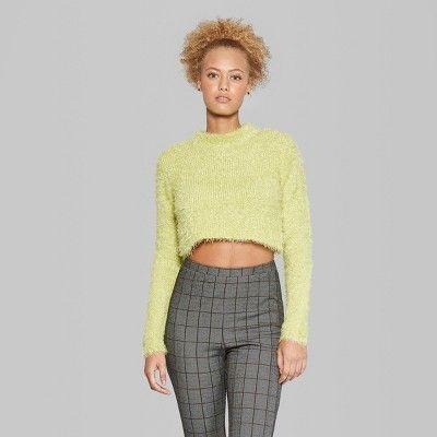 Women s Fuzzy Crop Mock Neck Sweater - Wild Fable Citrus Yellow Xxl ... ff1c8b840
