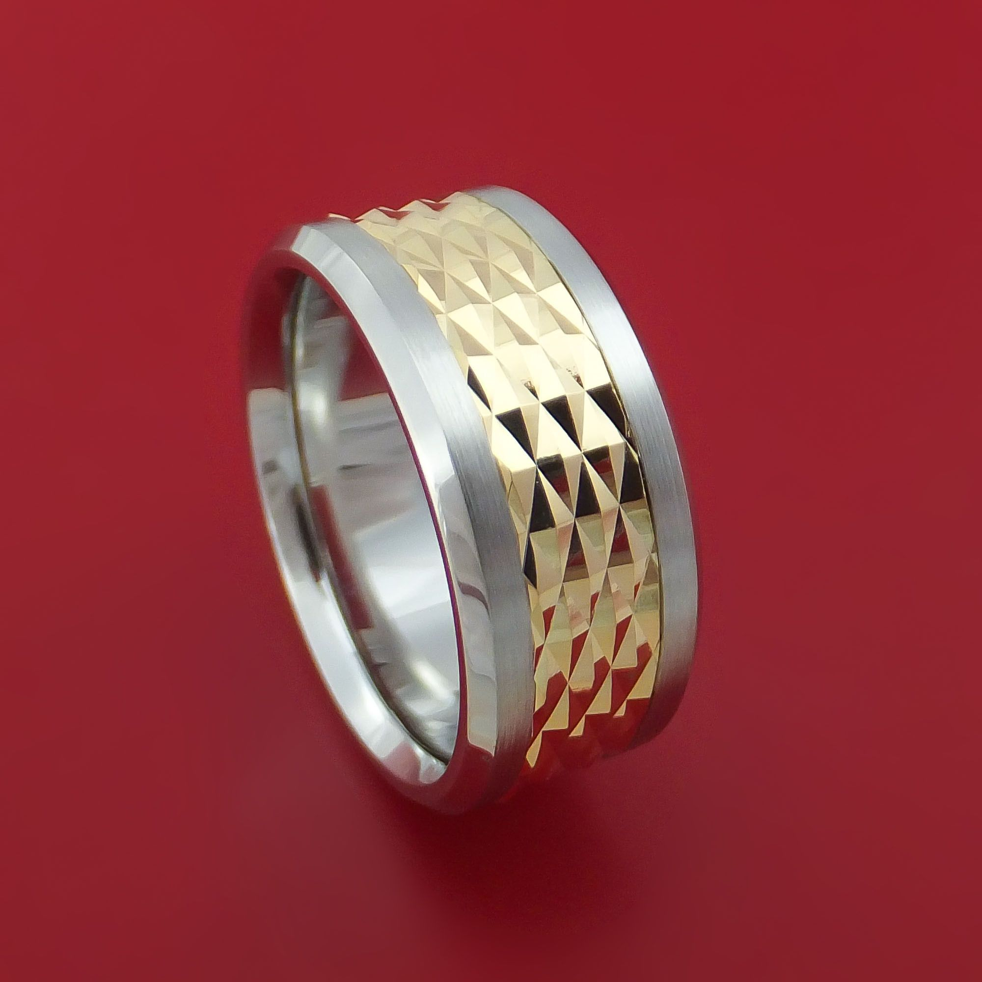Cobalt Chrome and 14k Yellow Gold Band Textured Custom