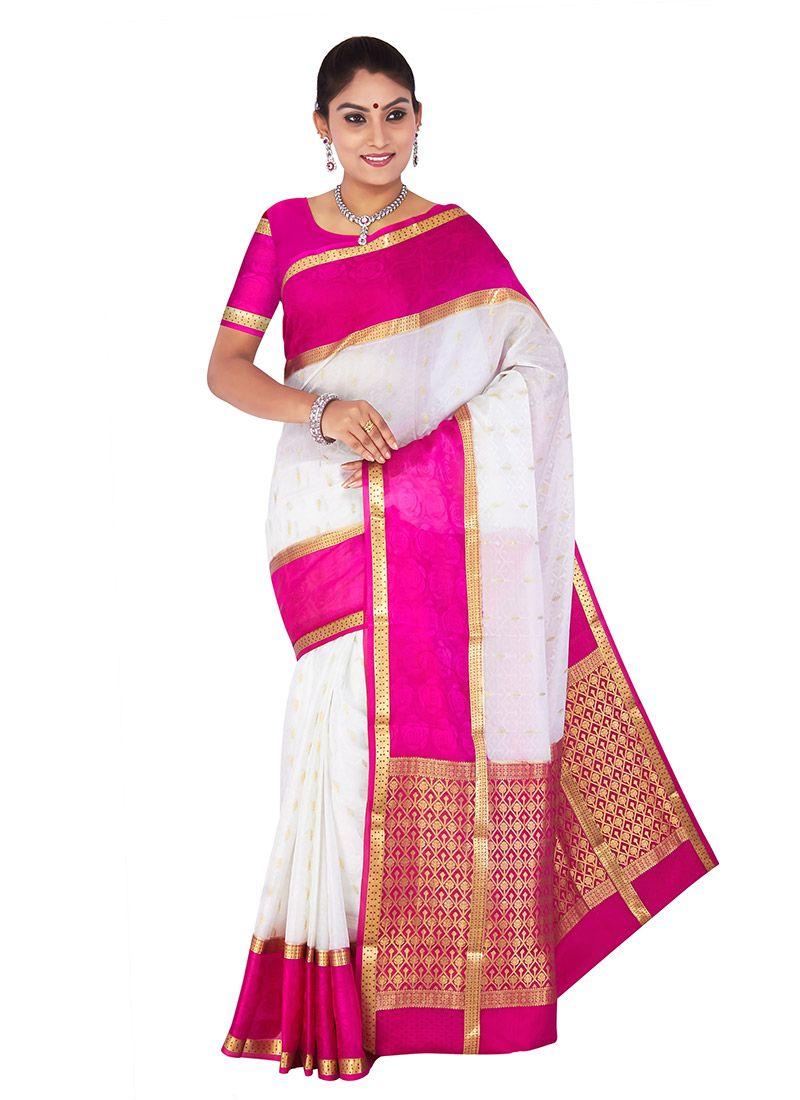 Pink n purple dress  Off White N Pink Pure Crepe Silk Saree  Dress  Pinterest  Silk