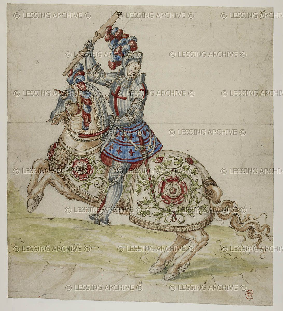 A mounted knight S. Netherlands (?), early 16th century Cotton Augustus III f. 35   The British Library, London, Great Britain