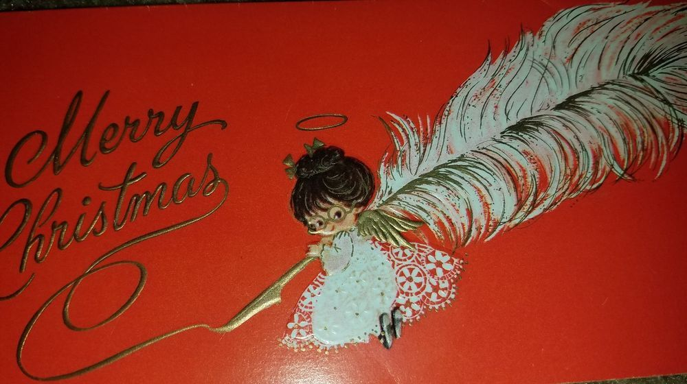 Angel Feather Christmas Card.