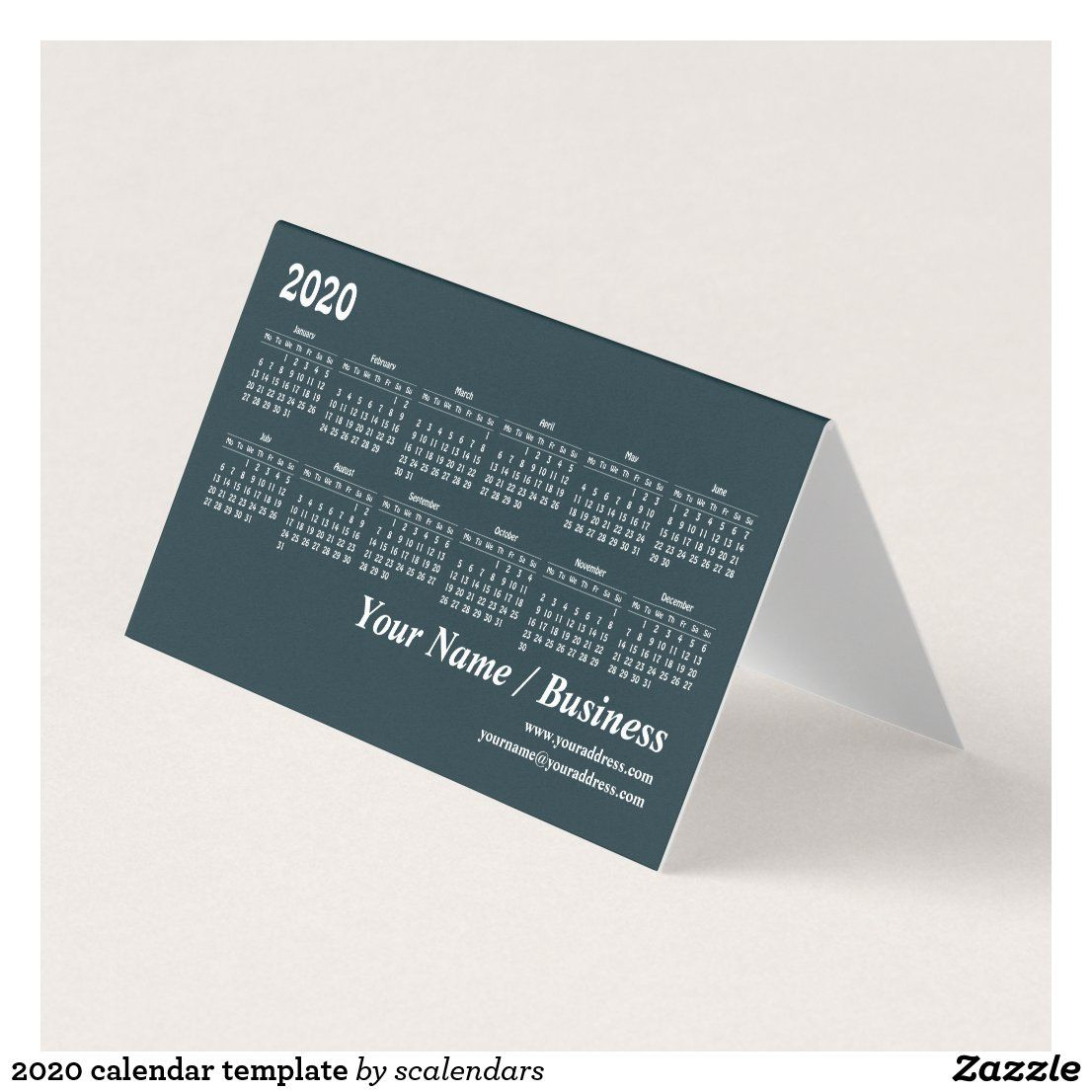 2020 Calendar Template Business Card Zazzle Com 2020 Calendar Template Calendar Template Folded Business Cards