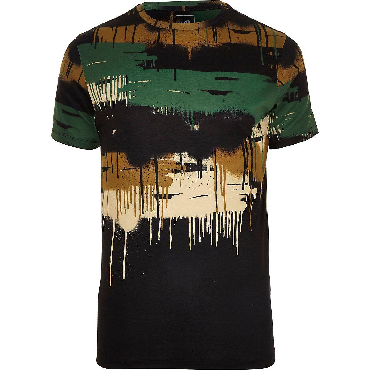 b47cbf5dea54a5 Khaki camo drip slim fit T-shirt in 2019