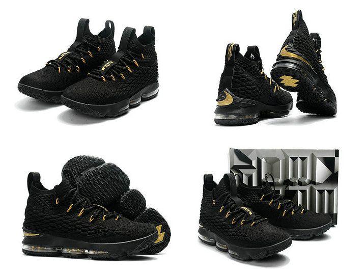 0c7db5c19c52 2018-2019 Cheap Cheap LeBron Shoes 2018 Lebron 15 XV Black Metallic Gold