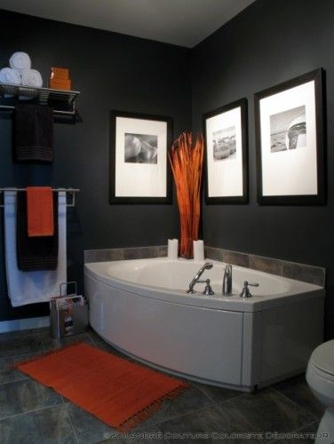 Dark Walls And Orange Accents Mens Bathroom Decor Bathroom Color Schemes Bathroom Wall Colors