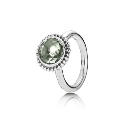 anillo pandora piedra verde
