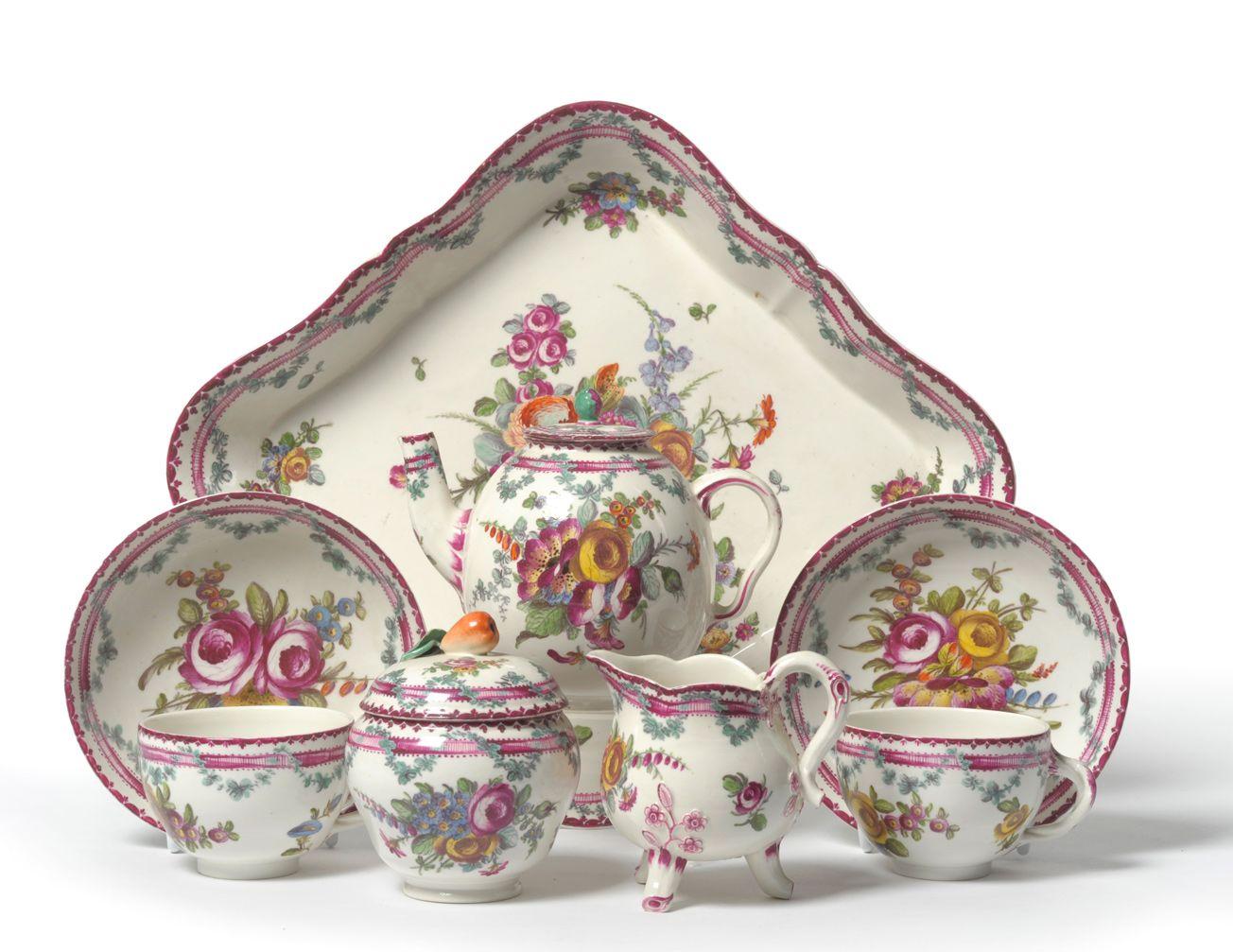 Frankenthal Porcelain Germany Tete A Tete C 1767 1304 1007 Antique Tea Cups Childrens Tea Sets