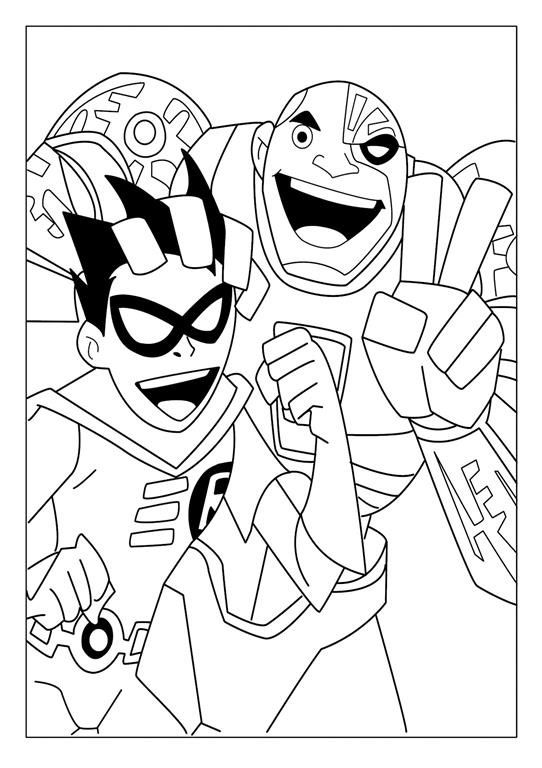 Teen titans coloring pages robin and cyborg Coloring 4 Kids DC