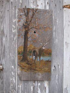Vintage+Painted+Barn+Wood+Buck+Deer+in+Woodland+by+VintageABCs