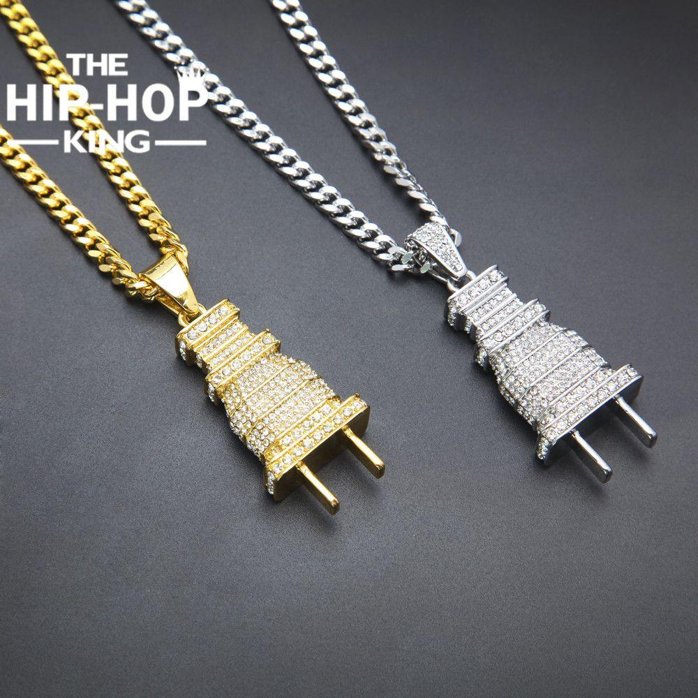 Mens congelado para fora bling bling plugue banhado a ouro colar de pingente de prata charme micro pave completa rhinestone jóias hip hop